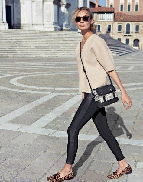 ivory v-neck wool top black running tights