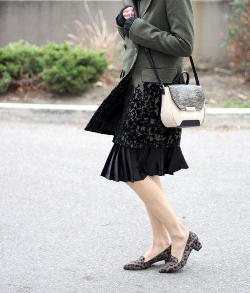 pink leopard print loafers black lace midi dress