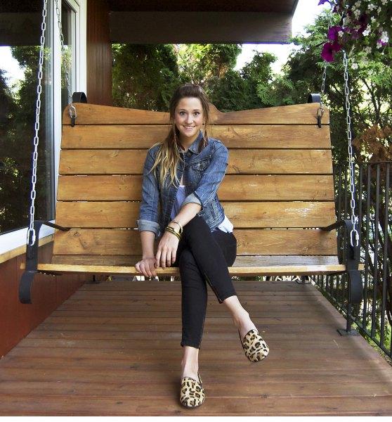 leopard print loafers blue denim jacket