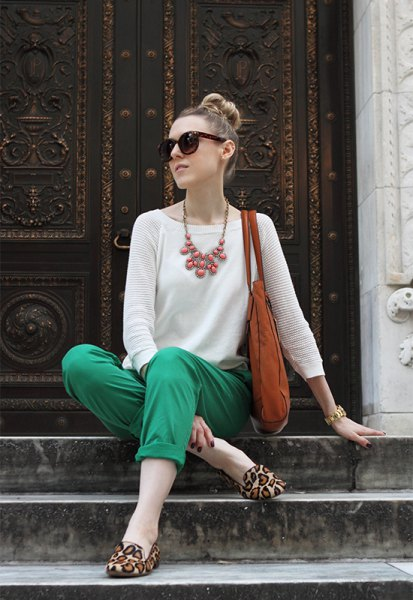 white knitted sweaters green khaki pants