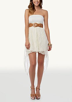 two toned white belt high low dress