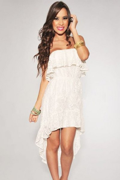 white ruffled strapless dress with high lace