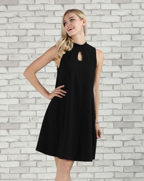 black keyhole a line dress