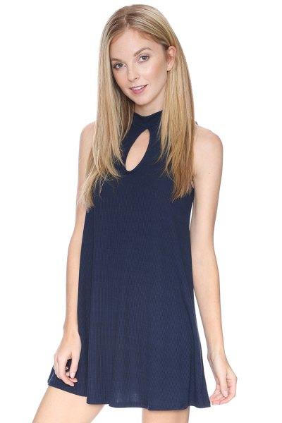 navy keyhole babydoll dress
