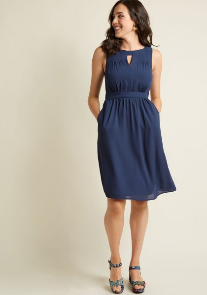 navy blue collared waist knee length dress
