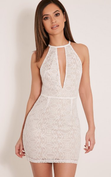 white halter neck keyhole bodycon lace dress