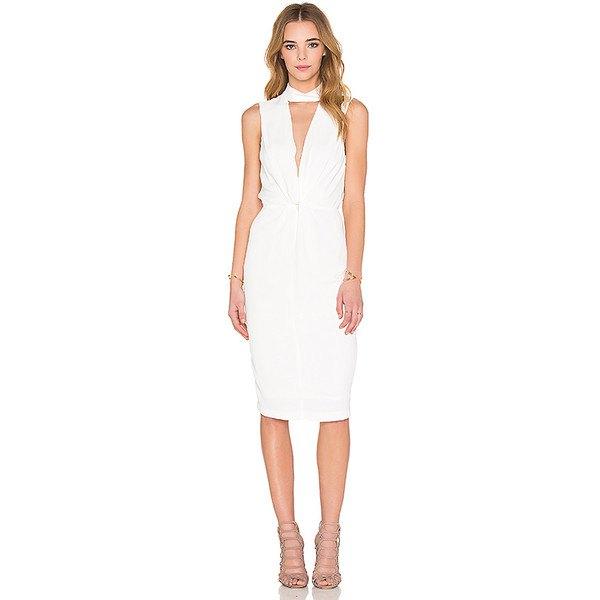 white overall waist dress