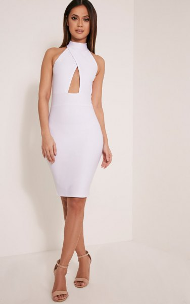 white criss cross keyhole bodycon dress