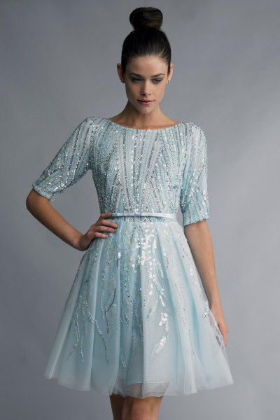light blue gathered waist cocktail dress silver sequin details