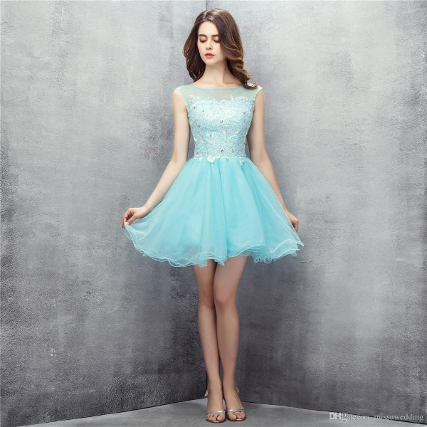 two tinted light blue tulle dress