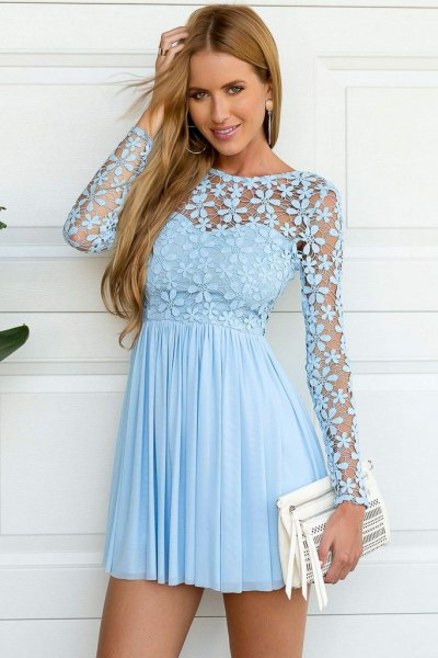light blue sweetheart pleated mini dress with floral mesh