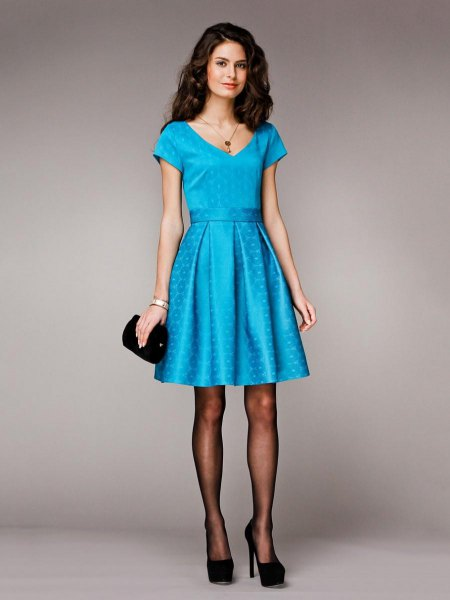 light blue belt of silk cocktail dress
