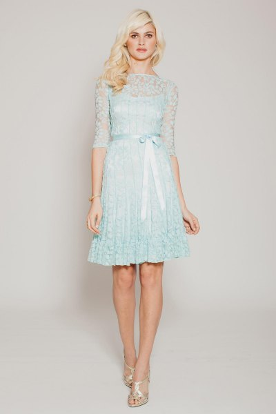 light blue shift dress lace semi clean overlay