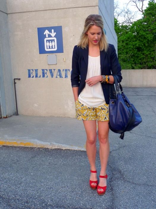 red platform heels yellow shorts