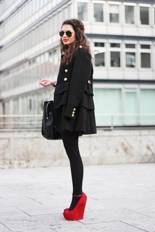 red platform heels black red
