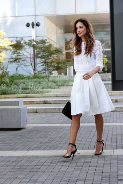 white mesh sweater pleated skirt length skirt