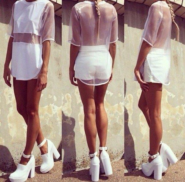 see through mesh top white mini shorts