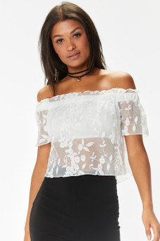white from shoulder flowers in mesh top pencil skirt