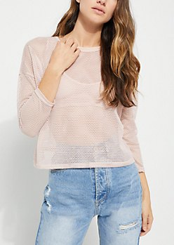 white long sleeve mesh tops mom jeans