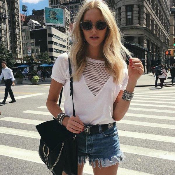 white t shirt mesh neckline