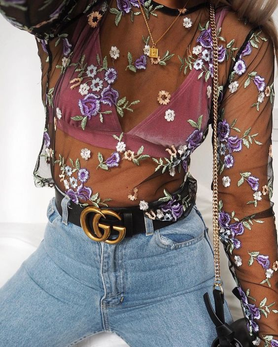 embroidered mesh top high waist jeans statement bag
