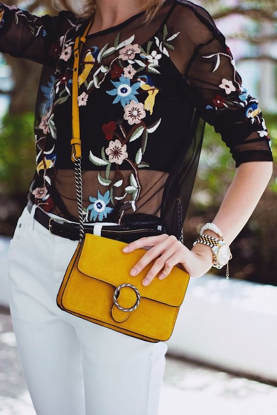 embroidered mesh top white jeans yellow bag