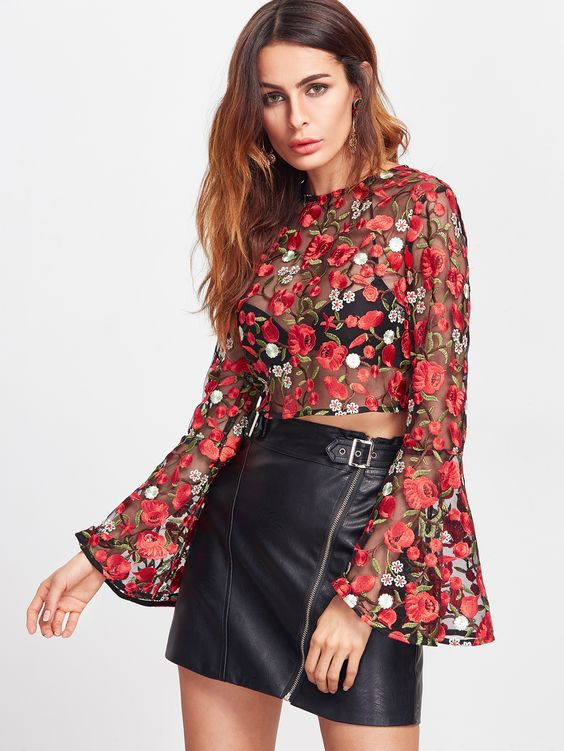embroidered mini skirt in top leather