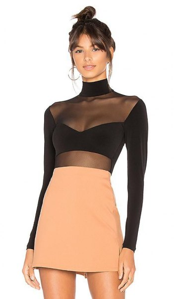 black long sleeve top mask overlay orange skirt