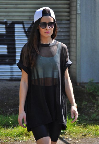 oversized black mesh top pencil skirt
