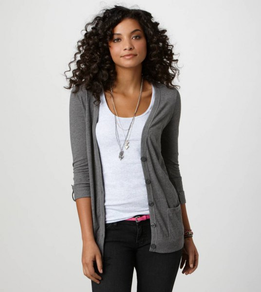 gray boyfriend cardigan white vest top