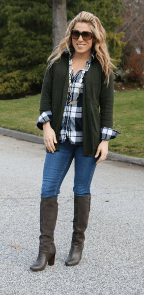 black cardigan plaid boyfriend shirt