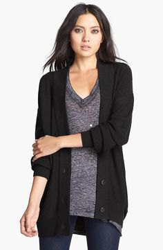 black cardigan oversized gray sweater with v-neck