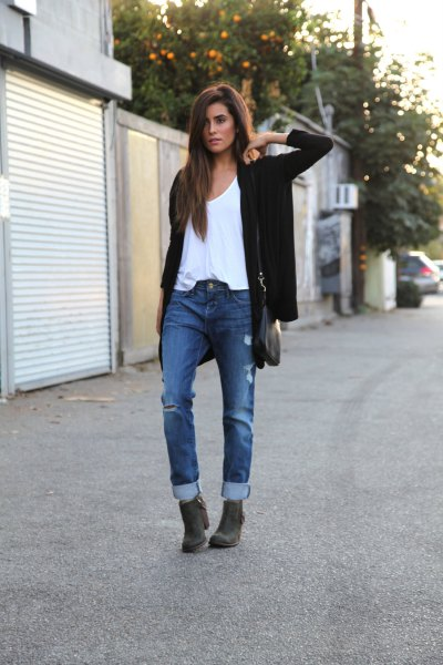 white vest top black cardigan jeans