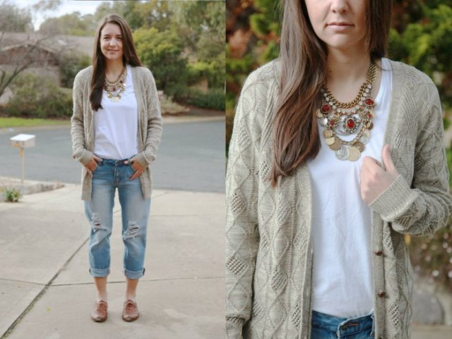 gray oversized cardigan ripped boyfriend jeans