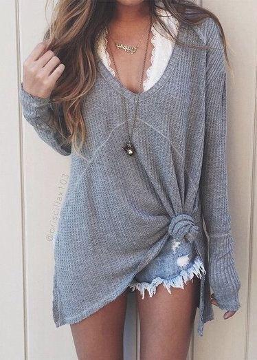 gray v-shirt denim shorts