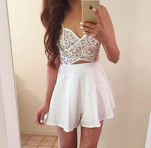 white lace bralette high waist mini skirt