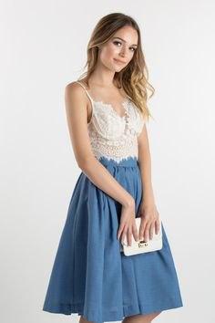 lace bralette high waist flare skirt