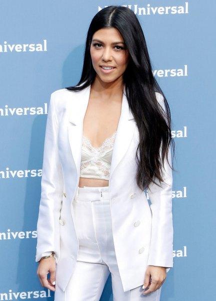 white blazer pants outfit