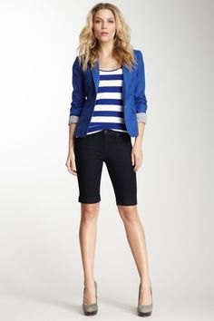 black shorts royal blue blazer