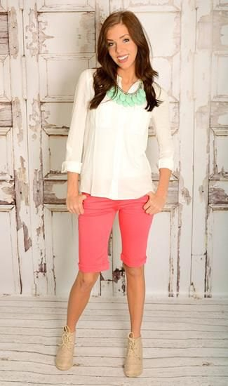 white chiffon blouse pink knee length shorts