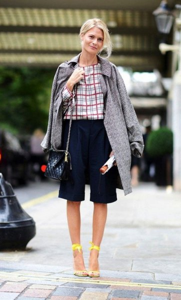 checkered blouse long tweed skirt