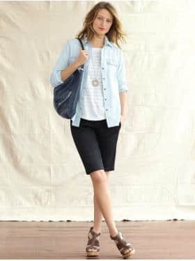 light blue boyfriend shirt black shorts