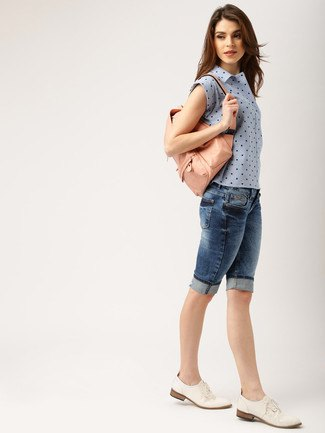 blue sleeveless polka dot shirt knee length denim shorts