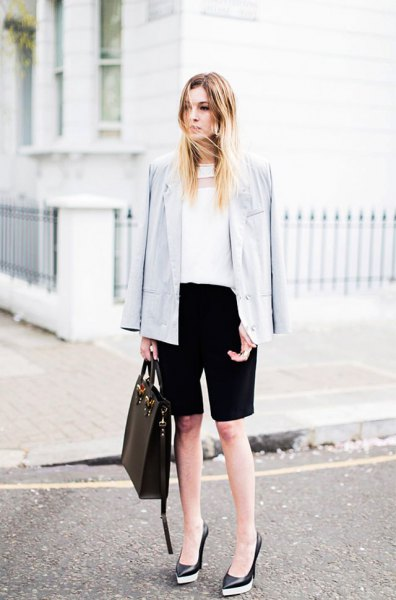 white chiffon blouse light gray blazer