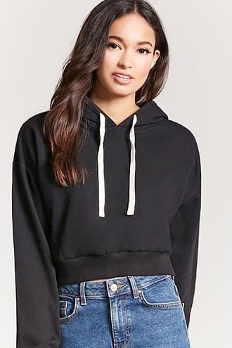 black cropped hoodie mom jeans