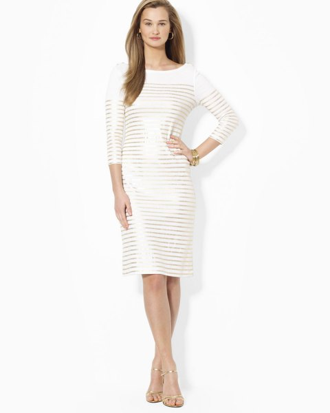white three quarter arms dress gold horizontal stripes