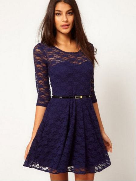 navy blue semi sheer skate dress