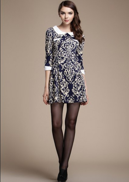 white collar navy printed dress
