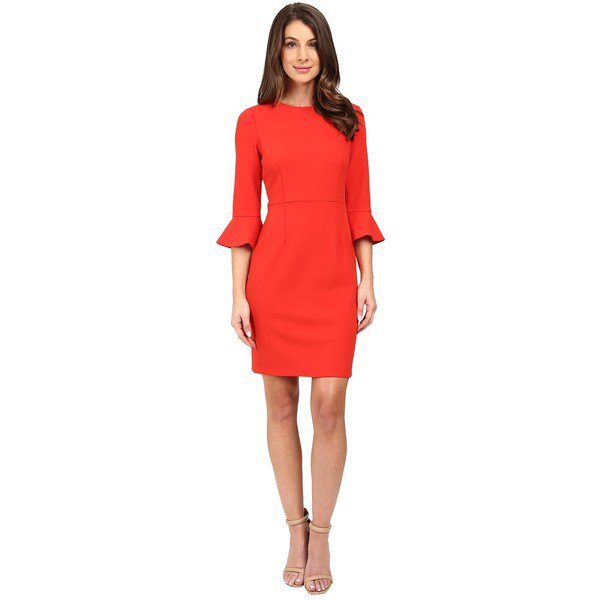 three quarter watch sleeve red mantle dress