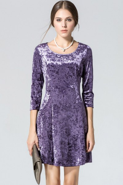 purple velvet three quarters sleeve mini dress